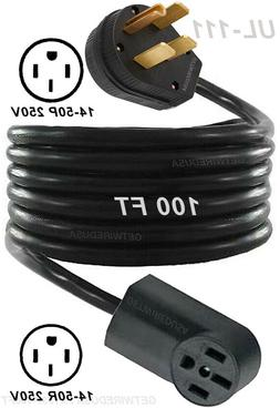 100-Foot Long Range Extension Cord 14-50P Male Plug To 14-50