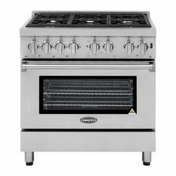 "36"" Stainless Steel 6 Burner Kitchen Dual Fuel Electric Gas"