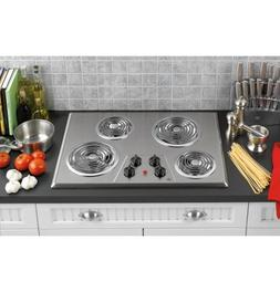 30 in. Coil Electric Cooktop in Stainless Steel with 4 Eleme