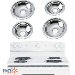 GE Hotpoint Chrome Stove Drip Pans Electric Burner Covers 4