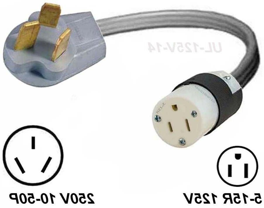 10-50P Range Plug To Gas Stove 5-15R Wall Outlet 125V Electr