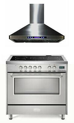 "Verona VDFSEE365SS 36"" Electric Range Convection Oven Stainl"