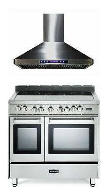 """Verona VEFSEE365DSS 36"""" Electric Double Oven Range Stainless"""