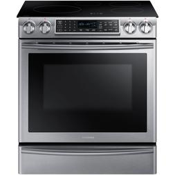 "Samsung Stainless Steel 30"" Electric Induction Slide In Rang"