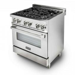 "ZLINE 30"" Stainless Steel 4.0 cu.ft. 4 Gas Burner/Electric O"